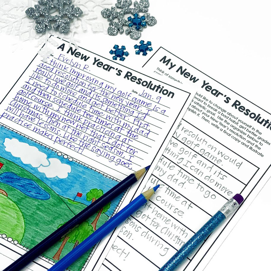 New Year's Resolution Guided Writing for upper elementary