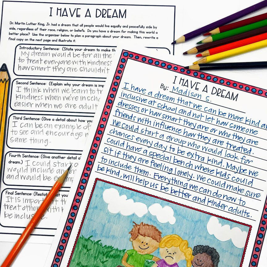 MLK Day guided writing activity