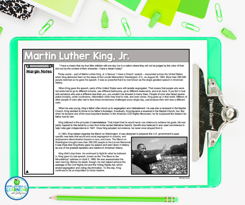 Martin Luther King reading comprehension activity