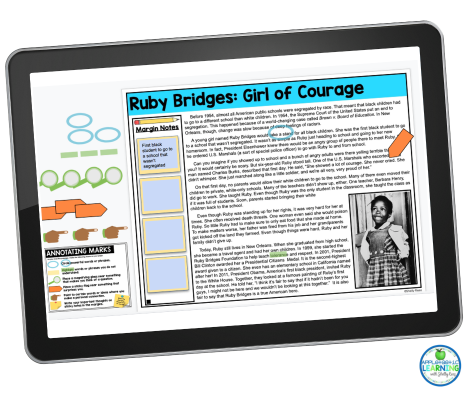 Ruby Bridges Close Reading Passage for Black History Month