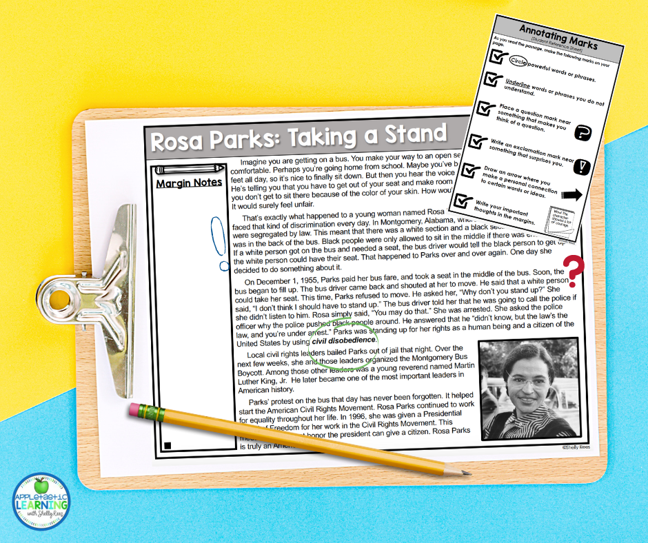 Rosa Parks Close Reading passage for reading comprehension