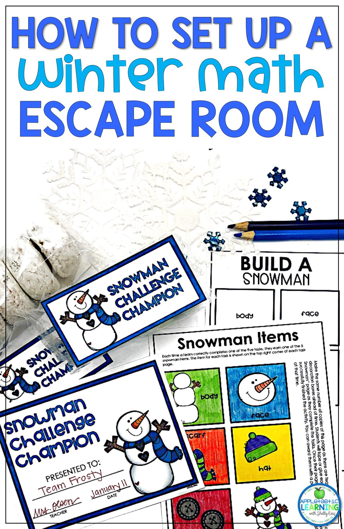Winter Escape Room for reviewing 2D shapes
