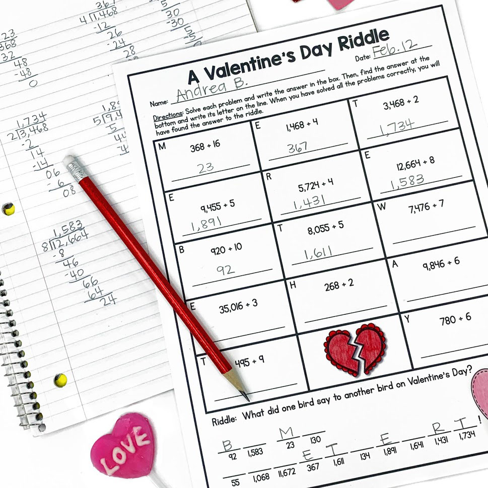 Valentine's Day Math Riddle gives students practice with division
