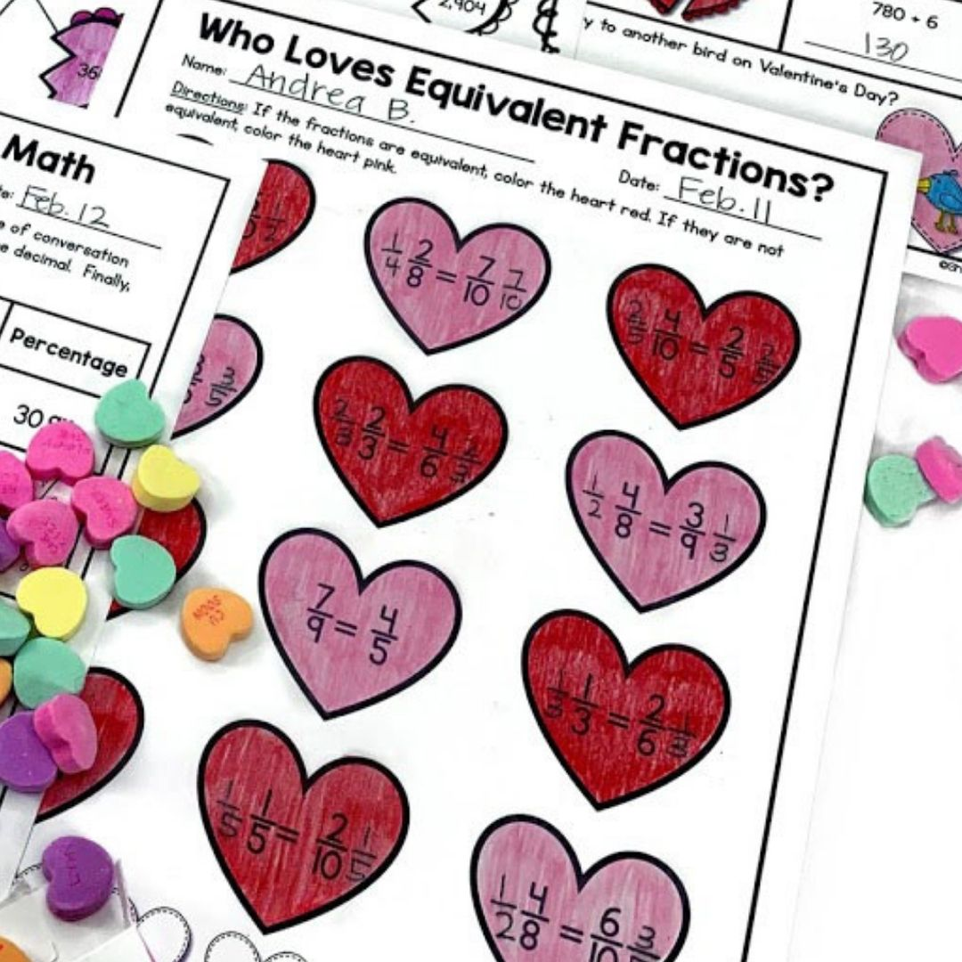 Equivalent Fraction activity for Valentine's Day