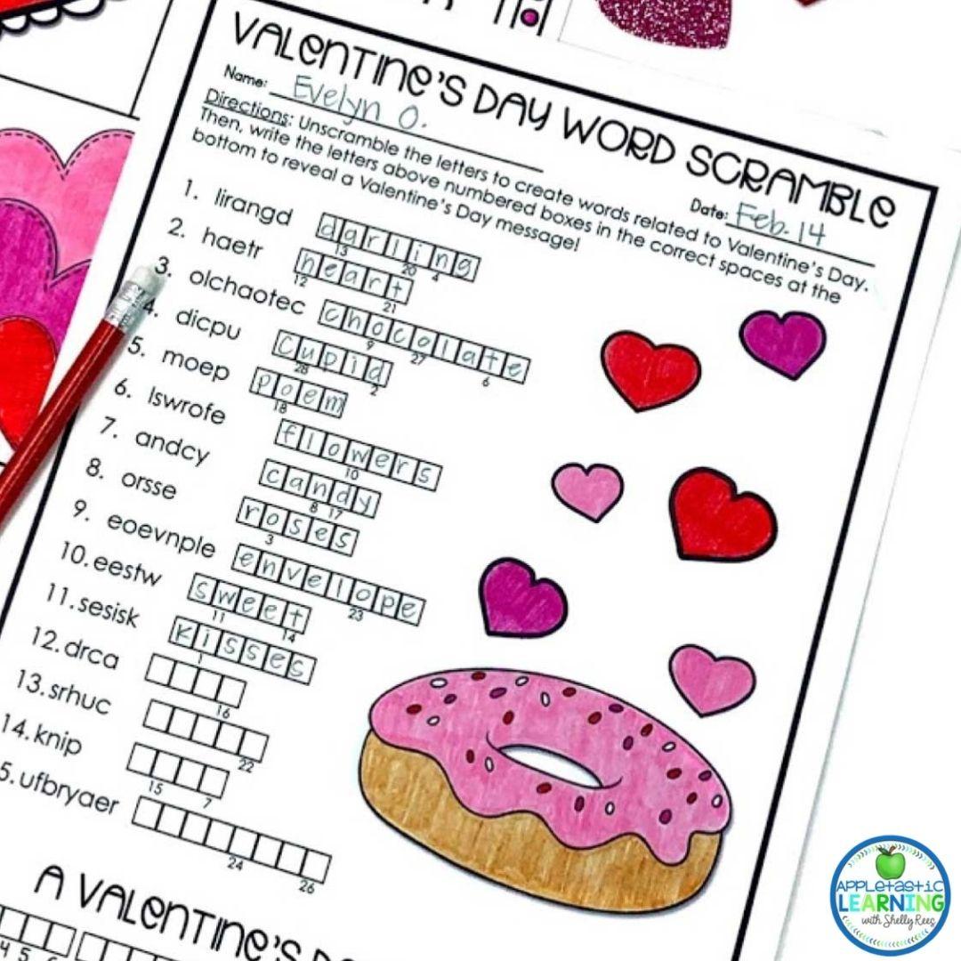 Valentine's Day word scramble word work activity