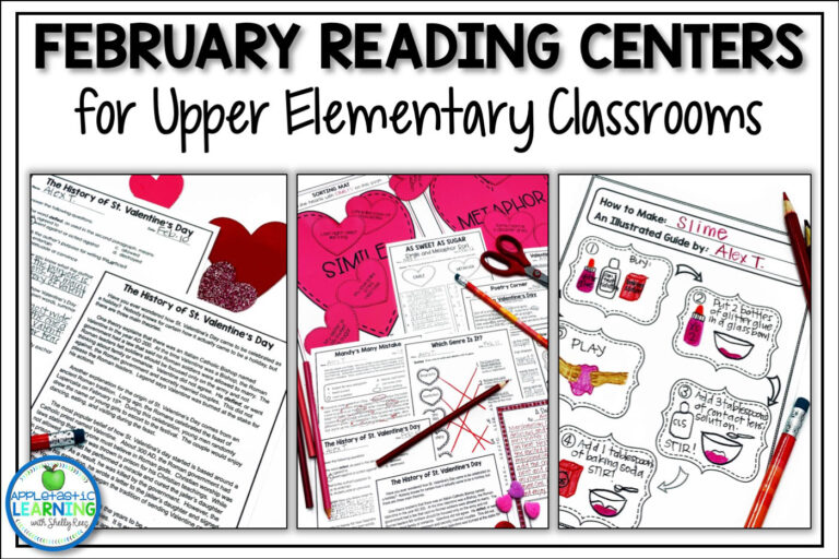 february reading activities for the upper elementary classroom