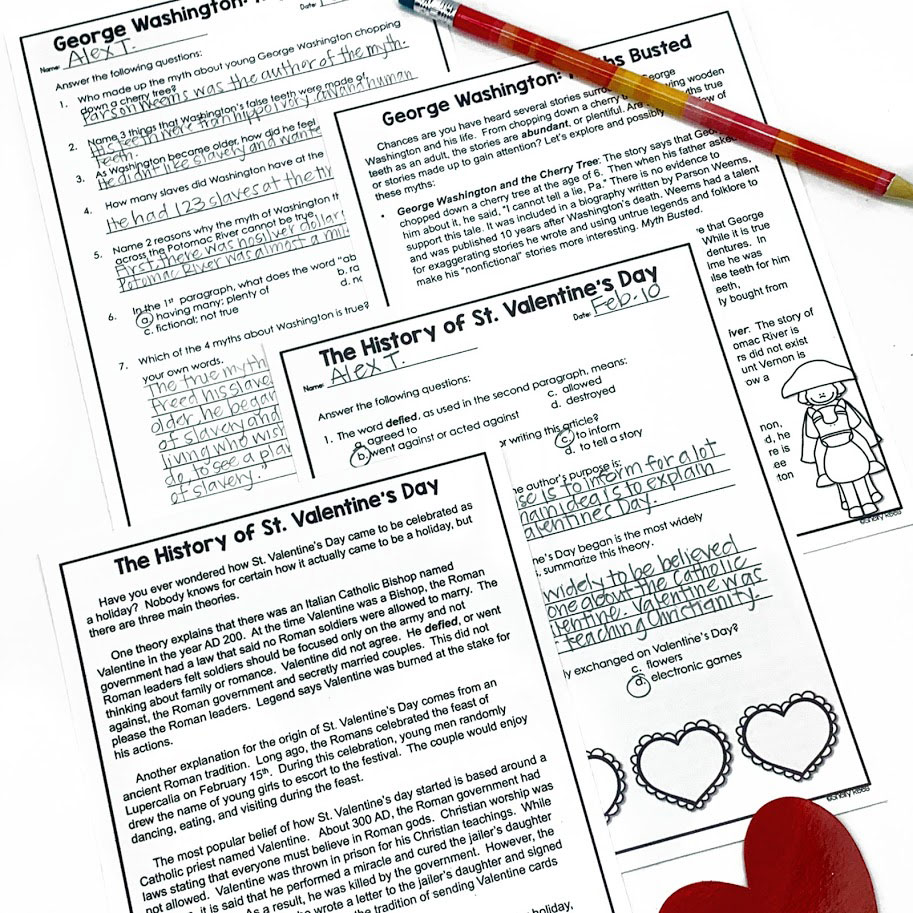 nonfiction February themed reading passages with reading comprehension questions