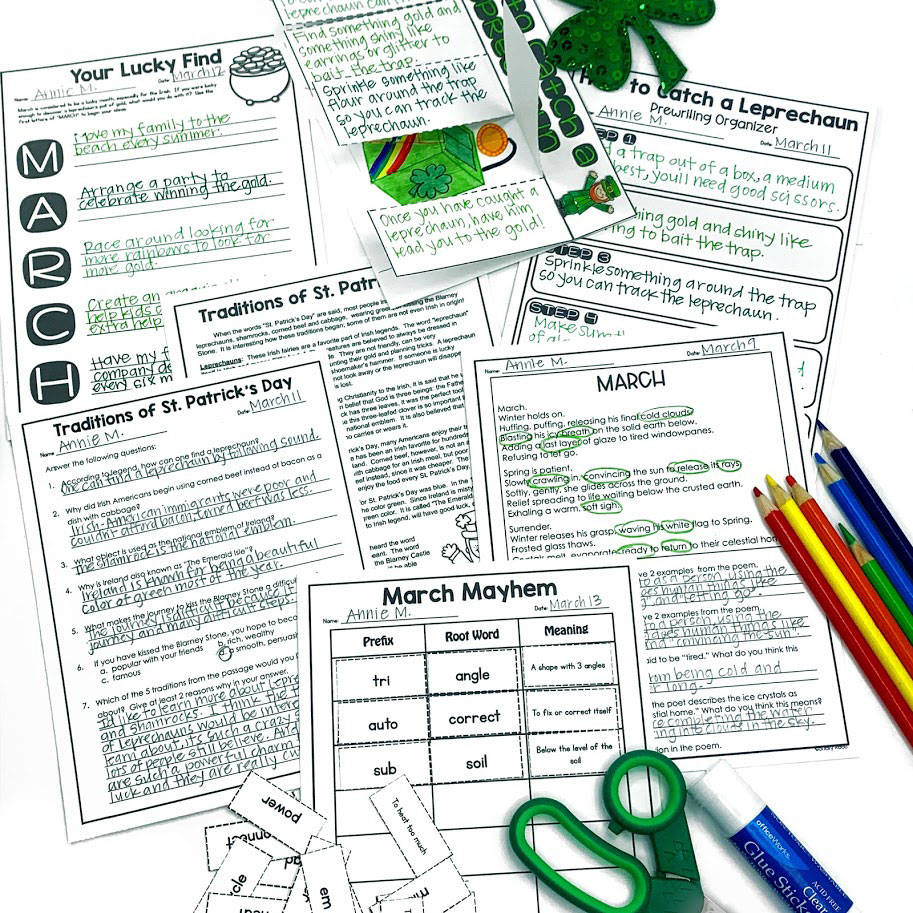march reading activities and language arts centers