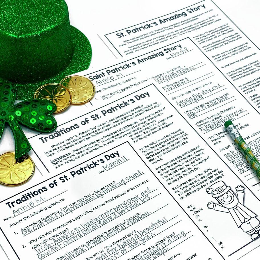 St. Patrick's day nonfiction reading passages