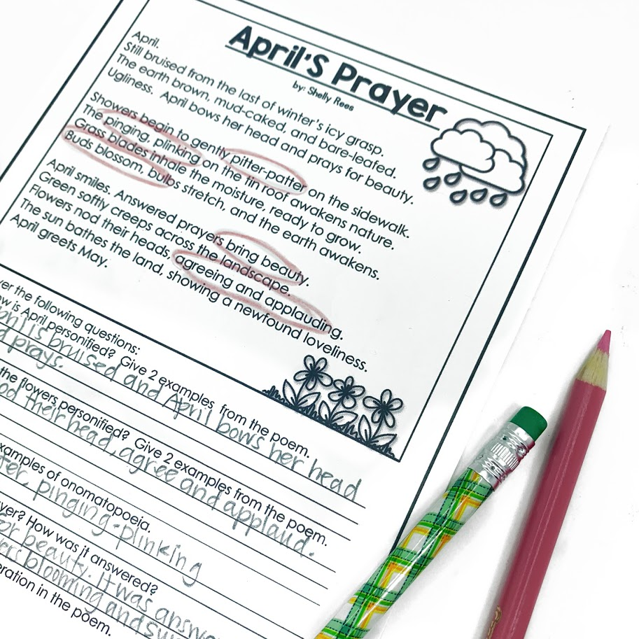 Help students with understanding poetry that they read with this April's Prayer poetry comprehension activity