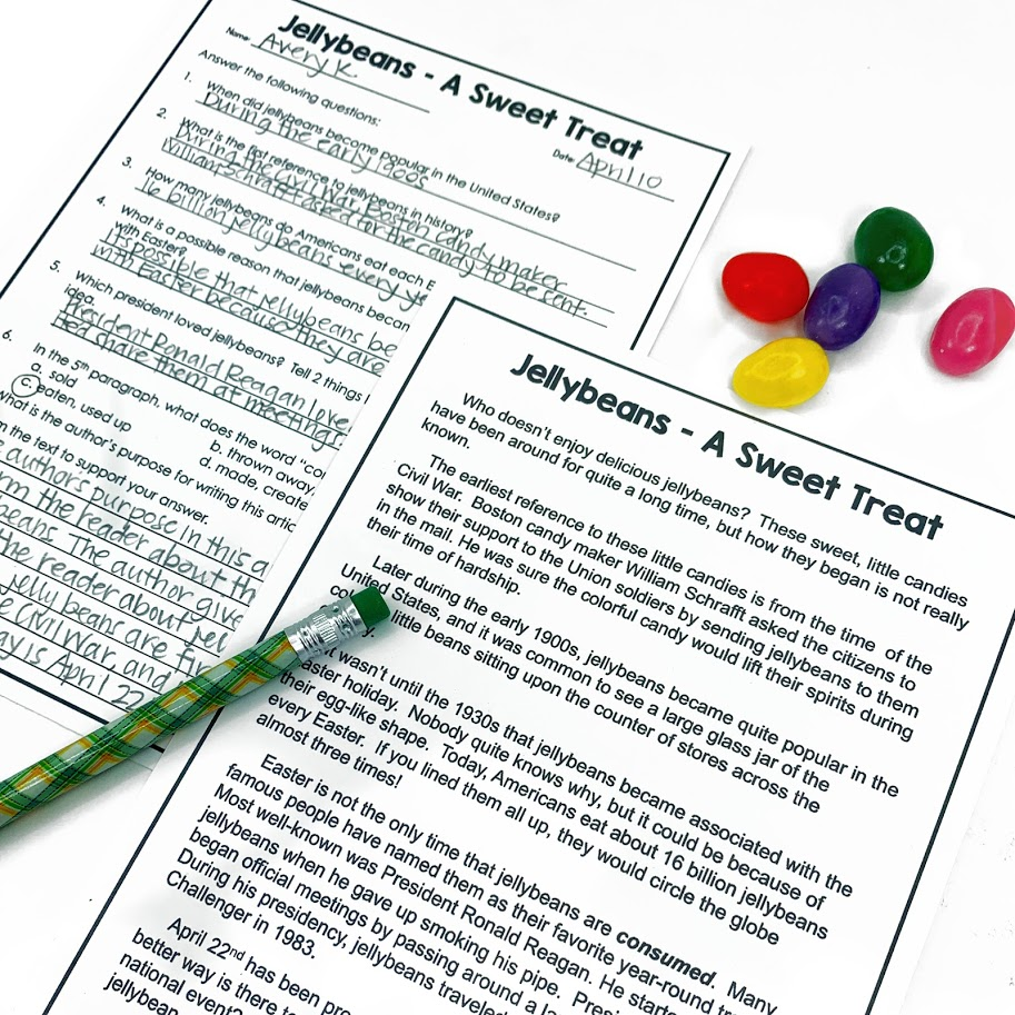Students will love learning about jellybeans in this engaging April nonfiction reading passage