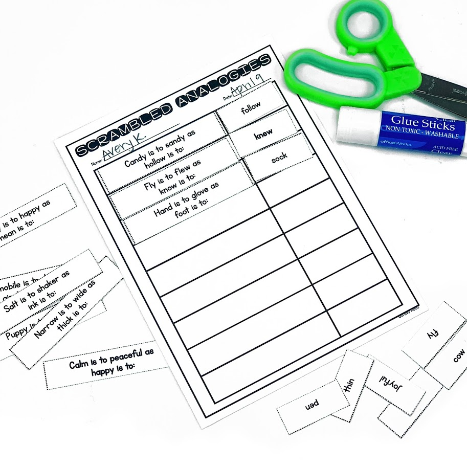 Students will love practicing analogies with this no prep cut and paste worksheet