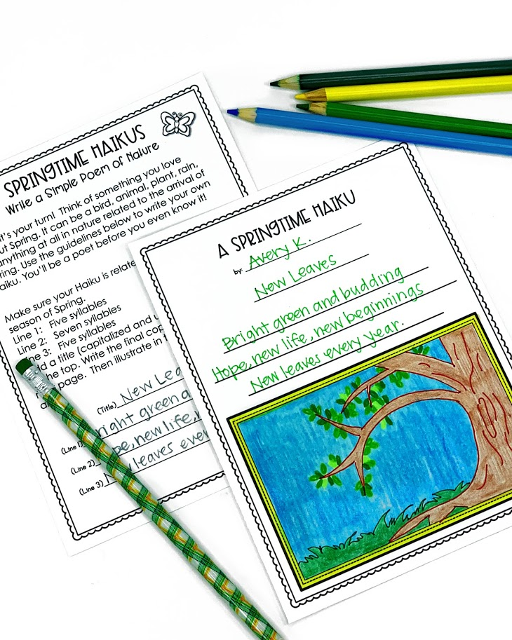 This spring haiku writing activity will have upper elementary students writing and illustrating their haiku poem in no time