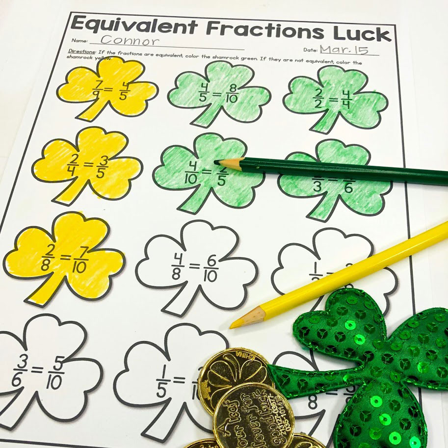 These lucky shamrocks will have your students working with equivalent fractions in this St. Patrick's Day math worksheet