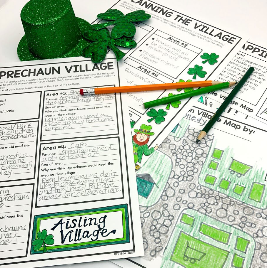 Design a LEprechaun Village planning pages will help students meet all the requirements of the project