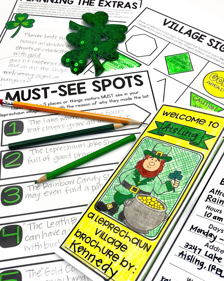 students will plan out tourist attractions in their leprechaun village