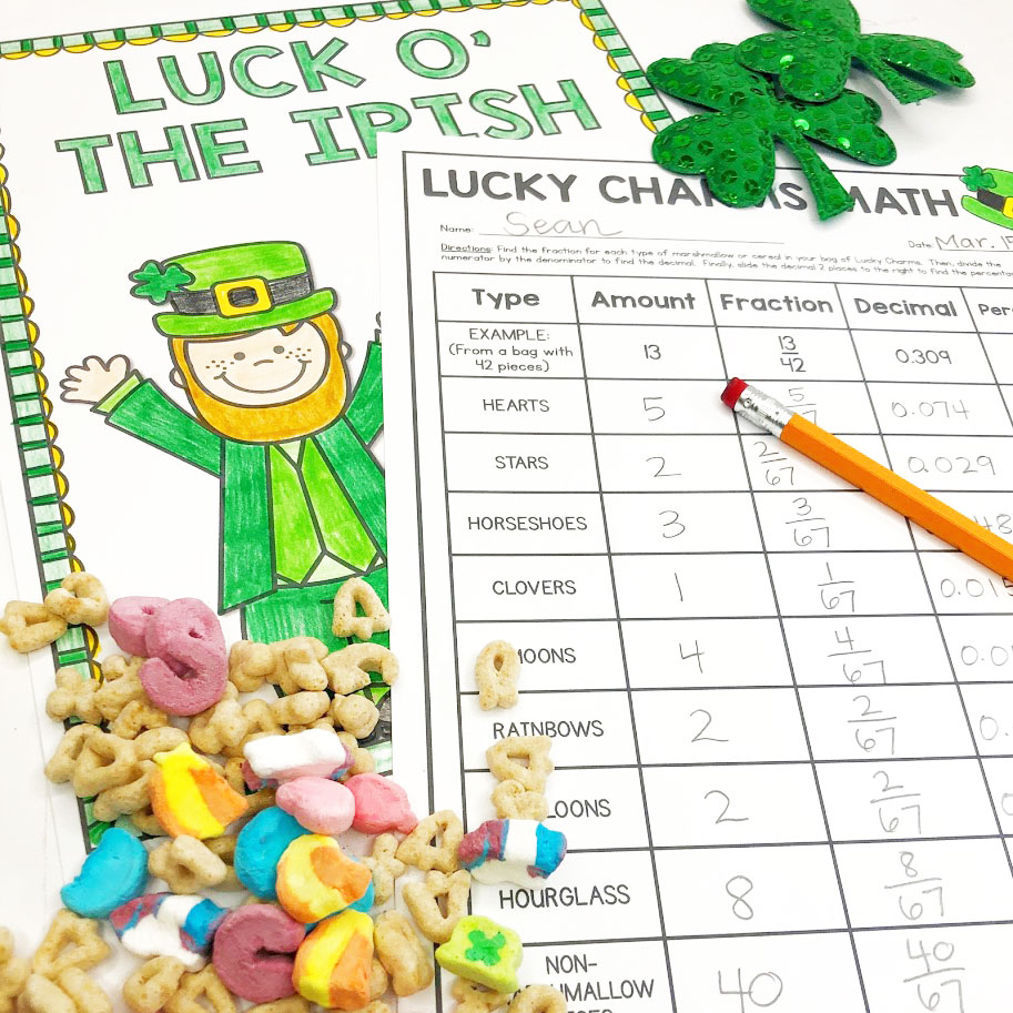Lucky Charms math activity is a hit with students as they practice math skills using the popular cereal as their manipulatives