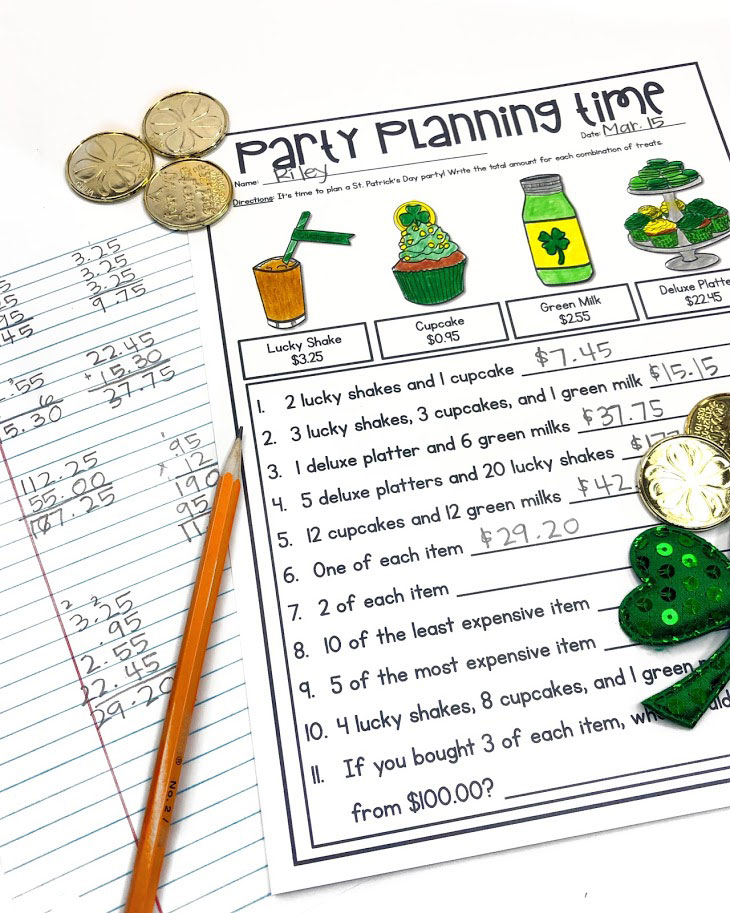 Plan a Party and work on money skills at the same time with this fun math worksheet for St. Patrick's Day