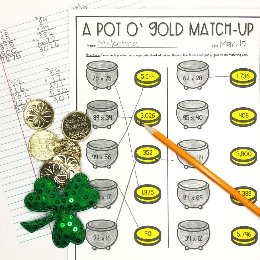 two digit by two digit multiplication practice where students match the pot of gold to the gold coin with the correct answer