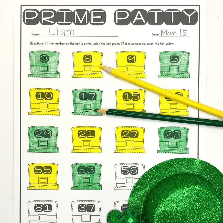 finding prime numbers is fun with this St. Patrick's day math activity