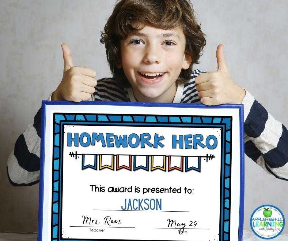 homework hero award for student