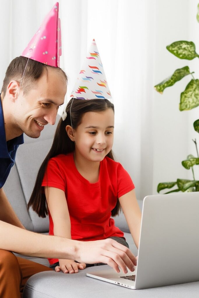 online zoom party can be made special with clappers, hats and party blowers for a festive atmosphere