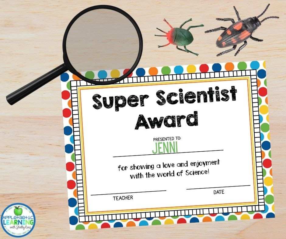 super scientist award with magnifying glass and plastic bugs