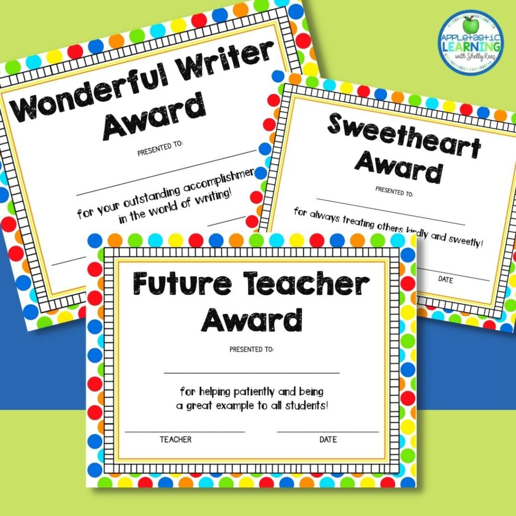 dollar store awards combine a colorful certificate with a related dollar store trinket for a memorable award