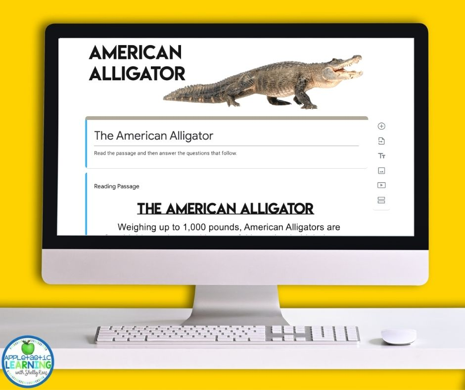 Google Forms based reading comprehension passage on the American Alligator