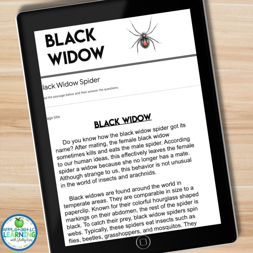 google forms reading passage about the black widow