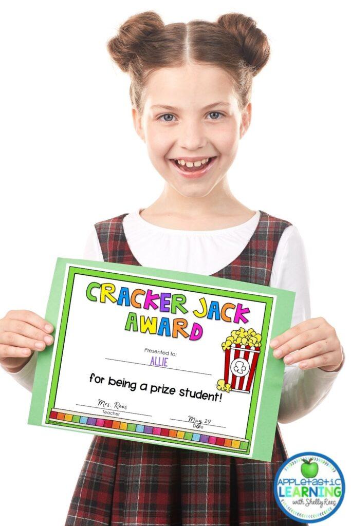 student with cracker jack award