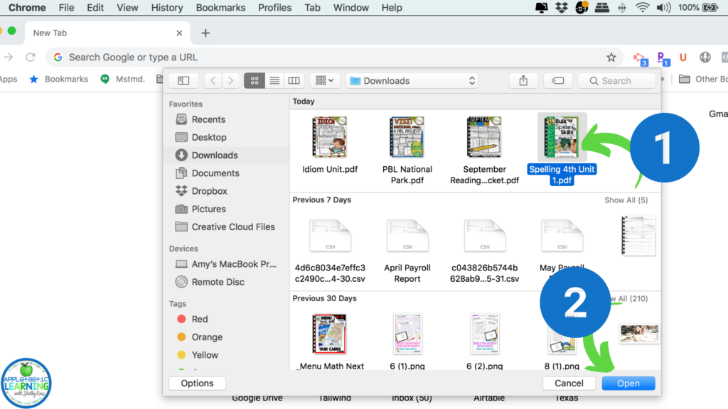 How to save one page from a pdf to share with your students using Google Chrome