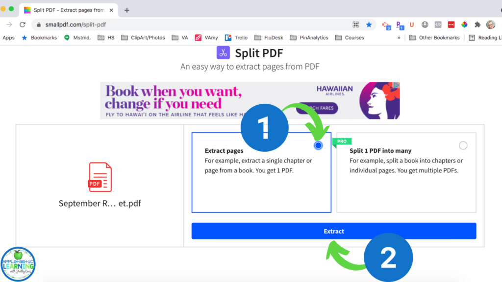 Save one page from a pdf using SmallPDF and the Split PDF tool