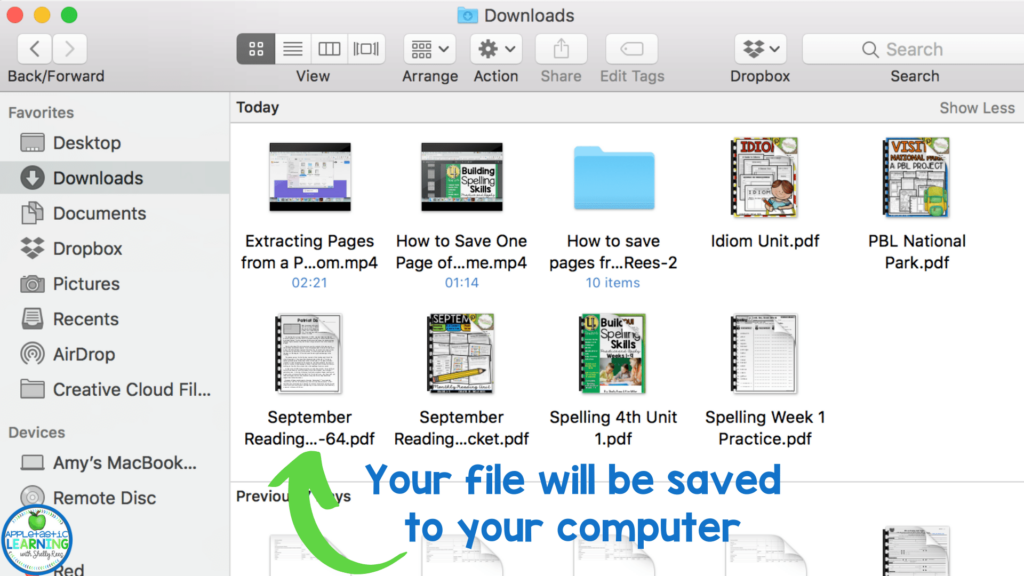 Your new extracted pages will be saved to your computer