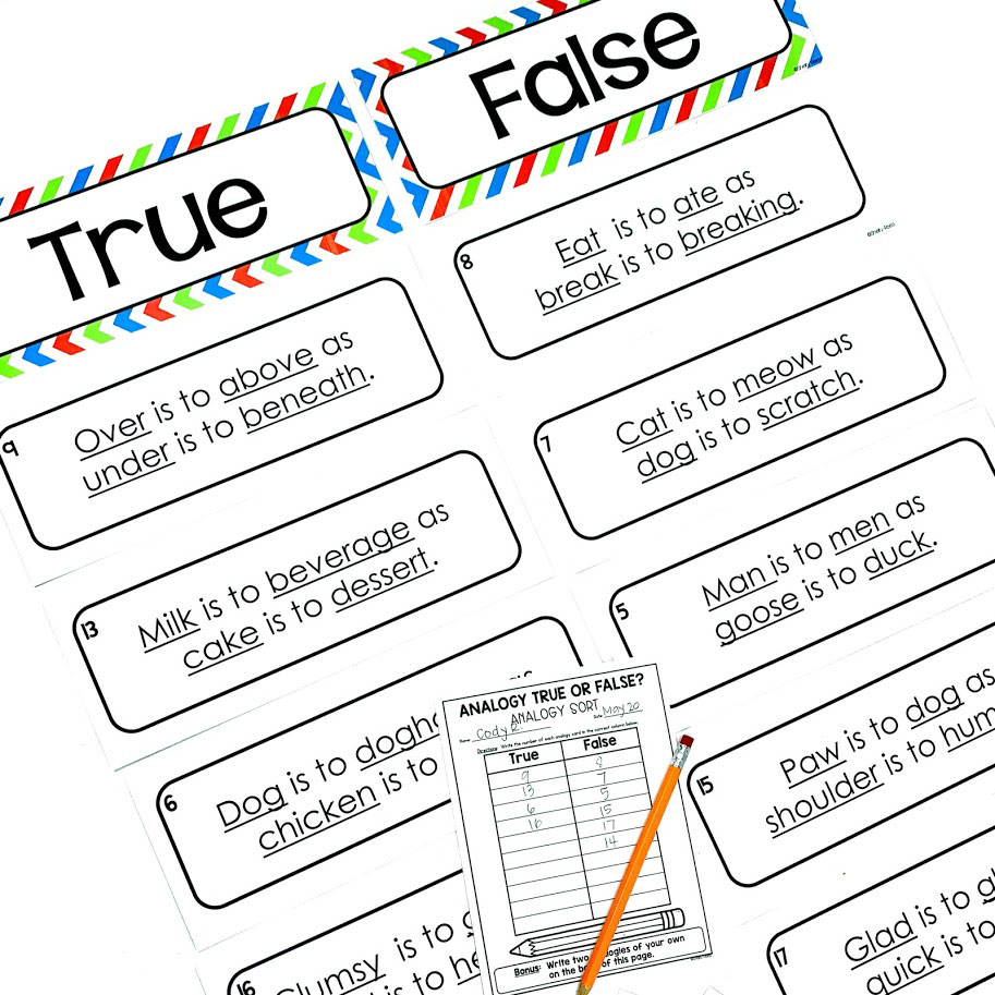 Analogy game for upper elementary students helps students determine if the provided analogy is true or false.
