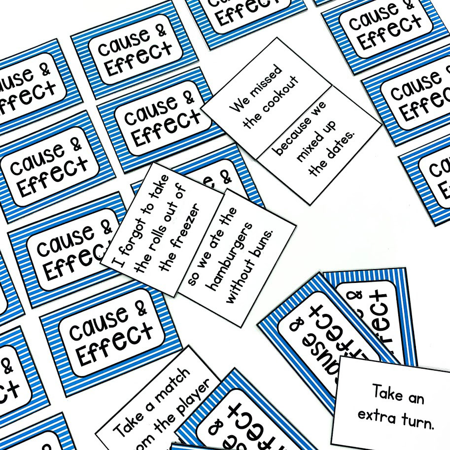 Help students master the concept of cause and effect with this matching game for centers or small groups.