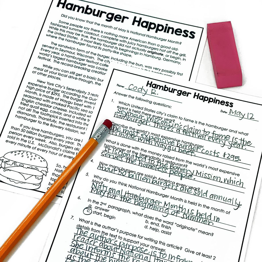 Hamburger Happiness reading passage will engage your students while helping them practice important reading comprehension skills
