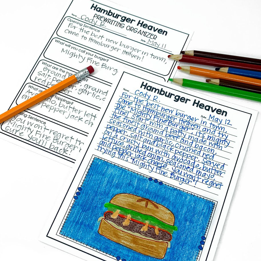 Your upper elementary students will love the Hamburger Heaven writing activity.