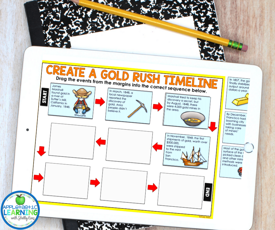 Engage students with history about the California Gold Rush using this digital interactive notebook