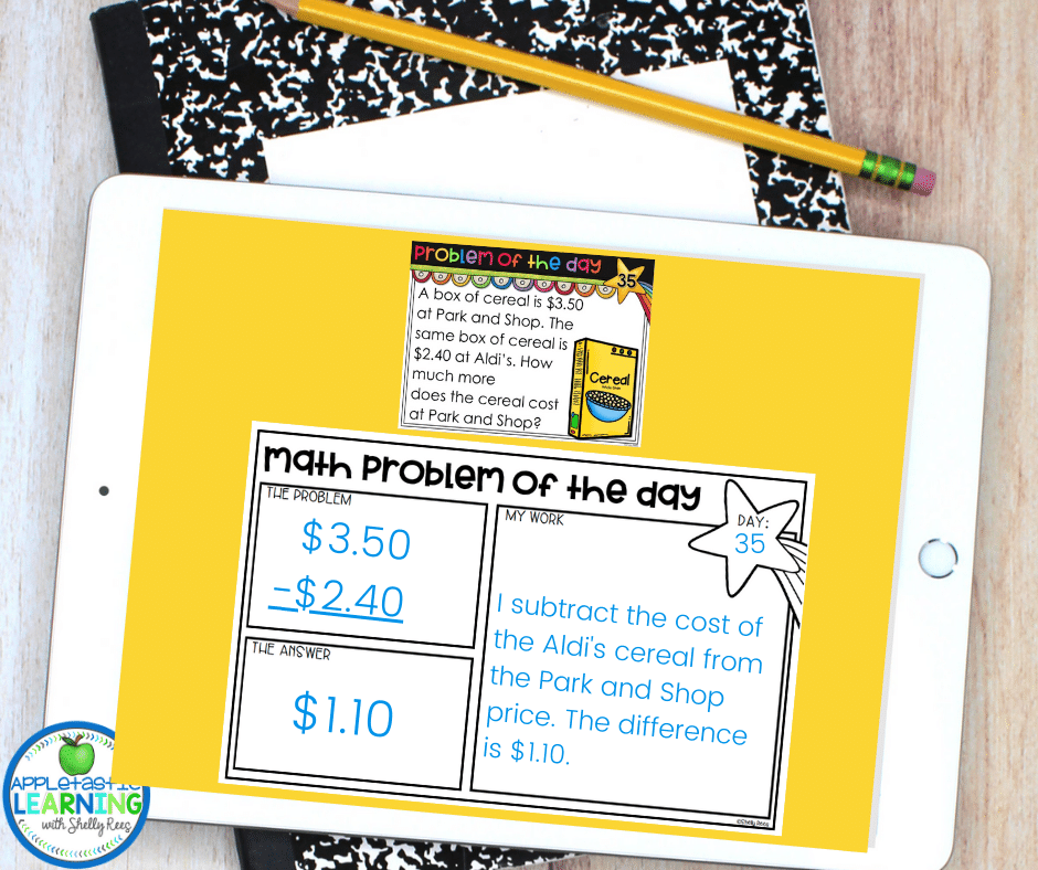 Use problem of the day to create a fun daily spiral review as a digital interactive notebook