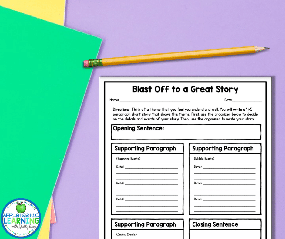 Take students thinking skills to a higher level as they apply what they learned about theme in their own writing with this guided writing activity.