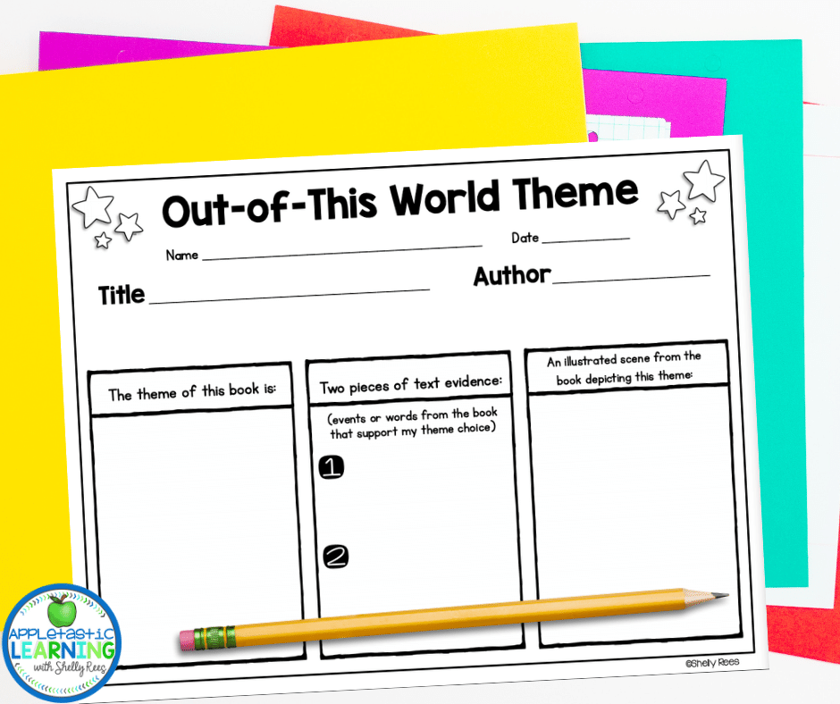 This theme graphic organizer is a great tool to help guide students as think through identifying the theme - perfect for teaching theme in fourth grade