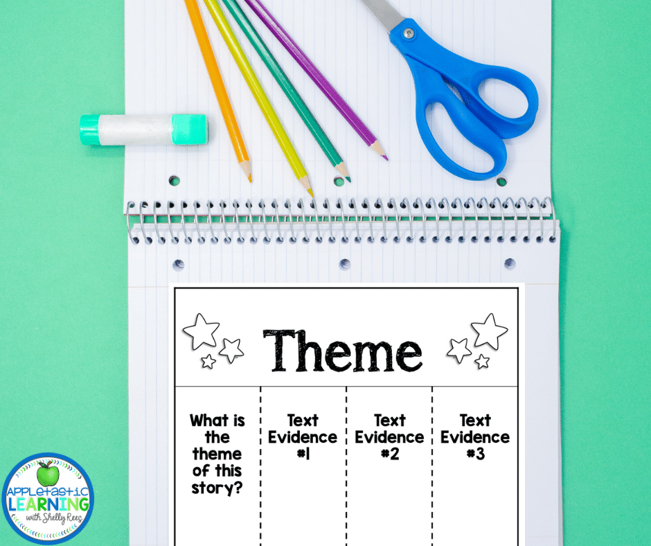 This theme graphic organizer is a great addition to an interactive notebook. Students learn to identify text evidence to support the theme - perfect for teaching theme in fourth grade