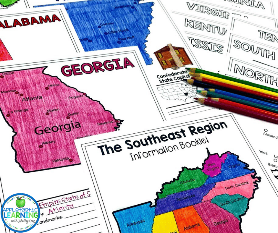 Using information booklets is a great way to teach the 5 regions of the United States.