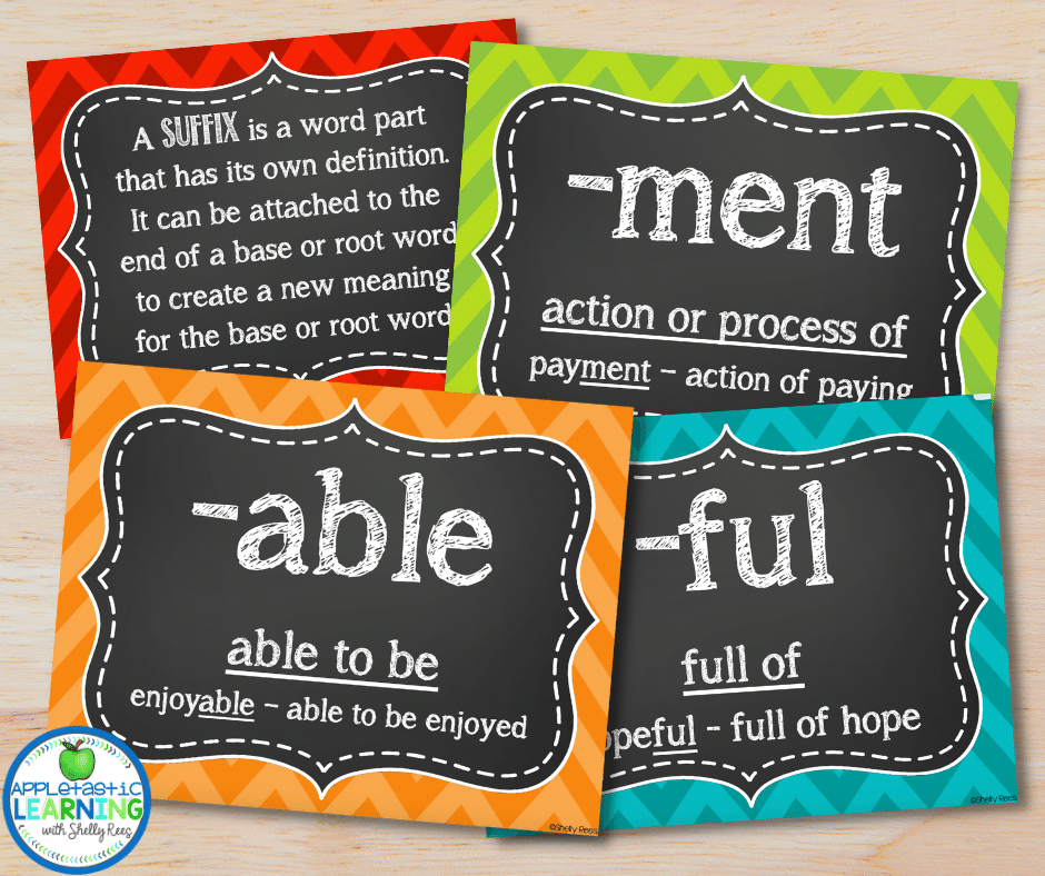 These suffix posters can be used in many different ways to support teaching prefixes and suffixes