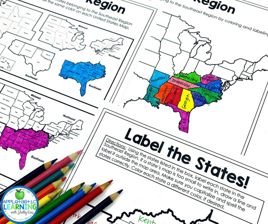 Grab these fun activities to teach the 5 regions of the United States.