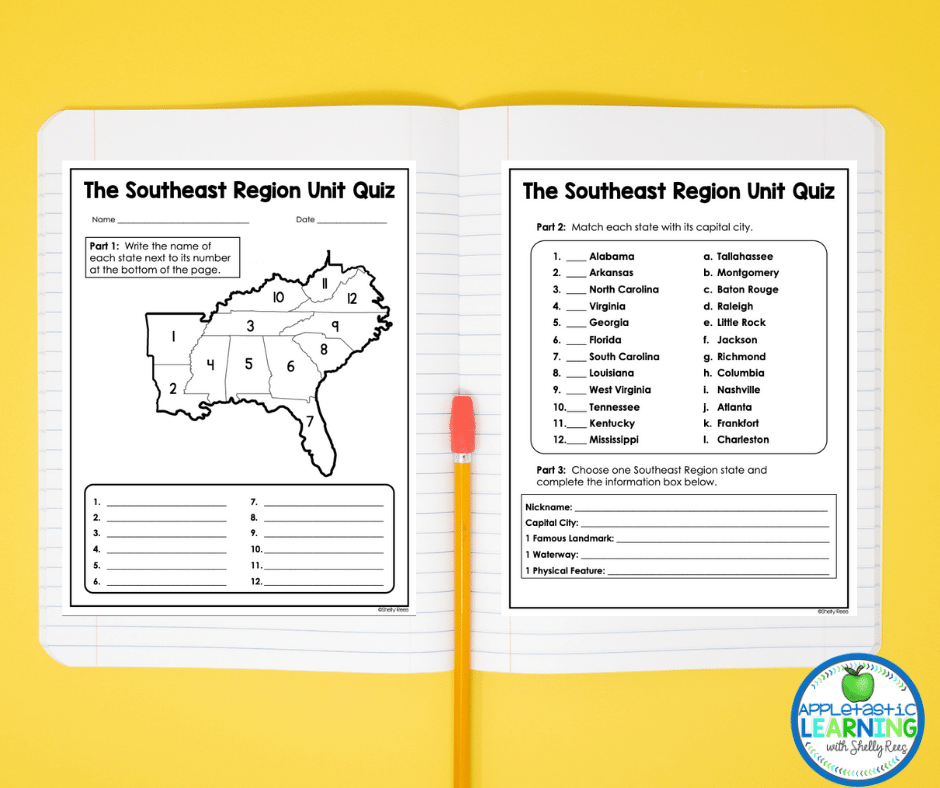 The 5 Regions of the United States Activities packs includes a unit quiz for each region